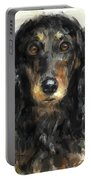 A Beautiful Artistic Painting Of A Dachshund  Portable Battery Charger