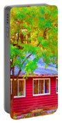 A Beautiful Country Building In The Fall 1 Portable Battery Charger
