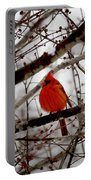 A Cardinal In Winter Portable Battery Charger