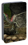 A Compsognathus Prepares To Swallow Portable Battery Charger