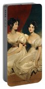 A Double Portrait Of The Fullerton Sisters Portable Battery Charger by Sir Thomas Lawrence