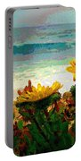 A Flowery View Of The Surf Watercolor Portable Battery Charger