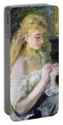 A Girl Crocheting Portable Battery Charger by Pierre Auguste Renoir