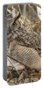 A Great Horned Owl's Wide Eyes Portable Battery Charger