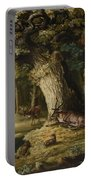 A Herd Of Stag And A Fawn In A Woodland Landscape Portable Battery Charger