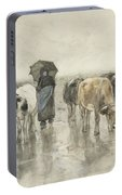 A Herdess With Cows On A Country Road In The Rain Portable Battery Charger