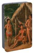 A Leeward Islands Carib Family Outside A Hut Portable Battery Charger