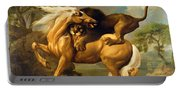 A Lion Attacking A Horse Portable Battery Charger