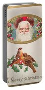 A Merry Christmas From Santa Claus Vintage Greeting Card With Robins Portable Battery Charger