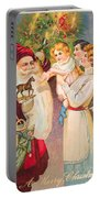 A Merry Christmas Vintage Card Santa And A Family Portable Battery Charger