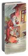 A Merry Christmas Vintage Greetings From Santa Claus And His Gifts Portable Battery Charger