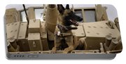 A Military Working Dog Sits On A U.s Portable Battery Charger
