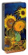 A Modern Look At Vincent's Vase With 5 Sunflowers Portable Battery Charger