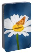 A Moth Collects Pollen On A Single Daisy Blossom. Portable Battery Charger