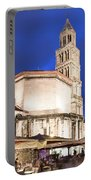 A Night View Of The Cathedral Of Saint Domnius In Split Portable Battery Charger