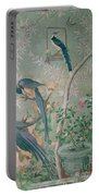 A Pair Of Magpie Jays  Vintage Wallpaper Portable Battery Charger