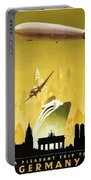 A Pleasant Trip To Germany - Airship, Aircraft, Ship - Retro Travel Poster - Vintage Poster Portable Battery Charger