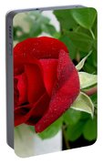 A Red Rose In The Dew Of Pearls Hours Portable Battery Charger