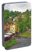 A Riverside Cafe Along The Vltava River In The Czech Republic Portable Battery Charger