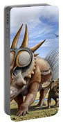 A Rubeosaurus And His Offspring Portable Battery Charger