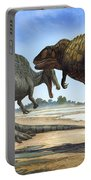 A Spinosaurus Blocks The Path Portable Battery Charger by Sergey Krasovskiy
