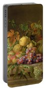 A Still Life Of Melons Grapes And Peaches On A Ledge Portable Battery Charger