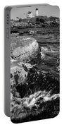 A Summer's Day At Nubble Light, York, Maine  -67969-bw Portable Battery Charger