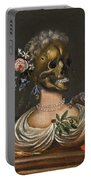 A Vanitas Bust Of A Lady With A Crown Of Flowers On A Ledge Portable Battery Charger