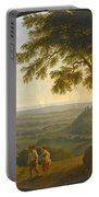 A View Across The Alban Hills With A Hilltop On The Right And The Sea In The Far Distance Portable Battery Charger