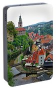 A View Of Cesky Krumlov And Castle In The Czech Republic Portable Battery Charger