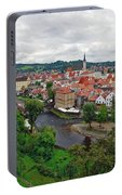 A View Overlooking The Vltava River And Cesky Krumlov In The Czech Republic Portable Battery Charger