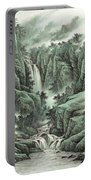 A Waterfall In The Mountains Portable Battery Charger