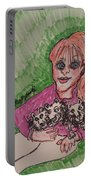 A Women And Her Puppies Portable Battery Charger