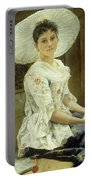 A Young Beauty In A White Hat  Portable Battery Charger by Franz Xaver Simm