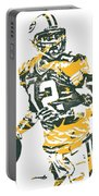 Aaron Rodgers Green Bay Packers Pixel Art 15 Portable Battery Charger