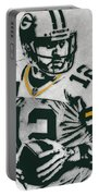 Aaron Rodgers Green Bay Packers Pixel Art 4 Portable Battery Charger