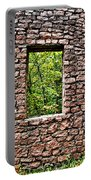 Abandoned Stone Wall With Window Portable Battery Charger