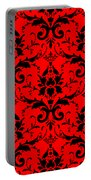 Abby Damask In Black Pattern 02-p0113 Portable Battery Charger