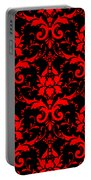 Abby Damask With A Black Background 02-p0113 Portable Battery Charger