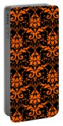 Abby Damask With A Black Background 03-p0113 Portable Battery Charger