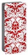 Abby Damask With A White Background 02-p0113 Portable Battery Charger