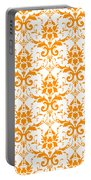 Abby Damask With A White Background 03-p0113 Portable Battery Charger