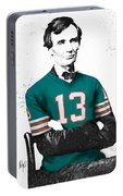 Abe Lincoln In A Dan Marino Miami Dolphins Jersey Portable Battery Charger