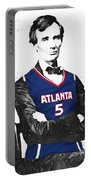 Abe Lincoln In A Josh Smith Atlanta Hawks Jersey Portable Battery Charger