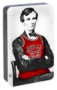 Abe Lincoln In A Michael Jordan Chicago Bulls Jersey Portable Battery Charger
