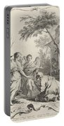 Abraham Kneeling Before The Three Angels Portable Battery Charger
