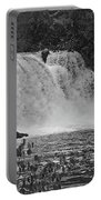 Abrams Falls Cades Cove Tn Black And White Portable Battery Charger