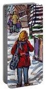 En Route Vers L'ecole Escaliers De Montreal Scenes De Ville Peintures A Vendre Portable Battery Charger