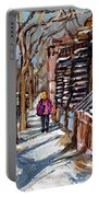Scenes De Ville De Montreal En Hiver Original Quebec Art For Sale Montreal Street Scene Portable Battery Charger