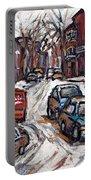 Ville Emard En Peinture Scenes De Ville De Montreal En Hiver Petit Format A Vendre Portable Battery Charger